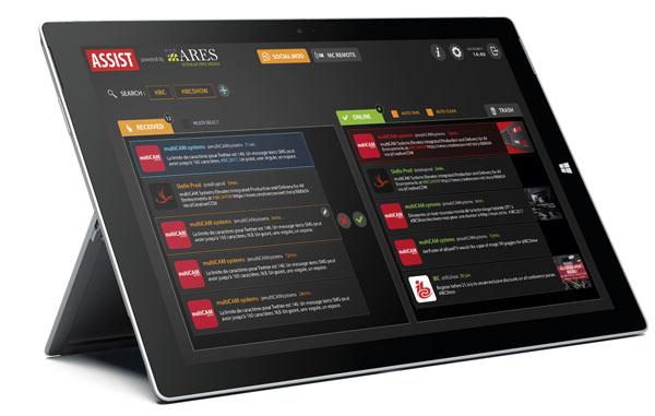 Aplicación Assist, la cual dialoga con MULTICAM Radio y Studio, para el control de las plataformas de redes sociales