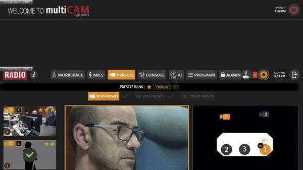 Captura de la interfaz de trabajo del software Multicam Radio y Studio