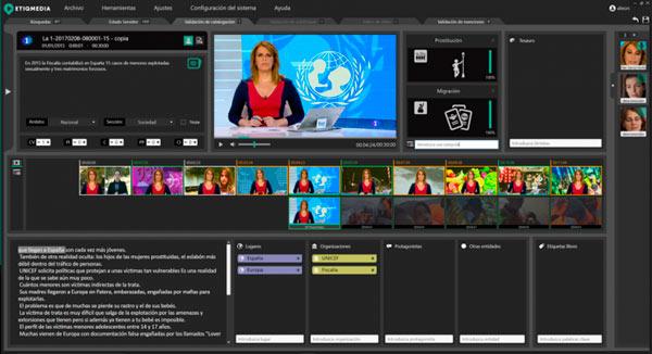 Screenshot el software de Etiqmedia proporcionado por Aicox soluciones a RTVE