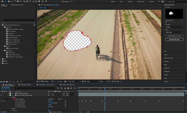 Aplicación de la herramienta Content Aware de After Effects