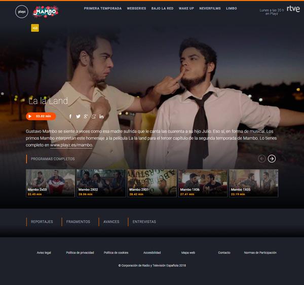 Versión web de la plataforma OTT de RTVE, Playz