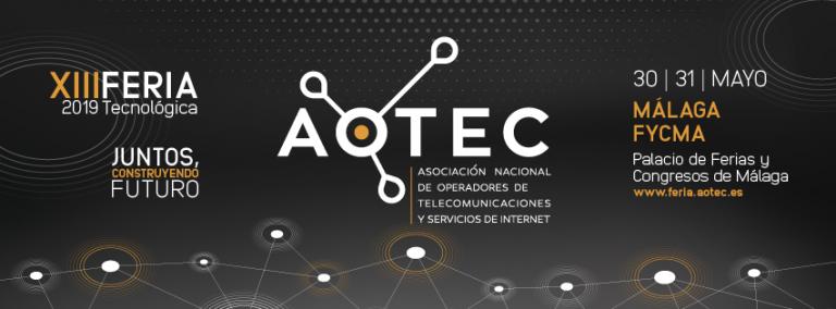 Cartel con información sobre la edición 2019 de la feria Aotec, la cual tendrá lugar en Málaga