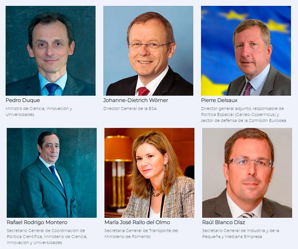 Panel con algunos de los ponentes más destacados que participarán en el congreso del Espacio 2019