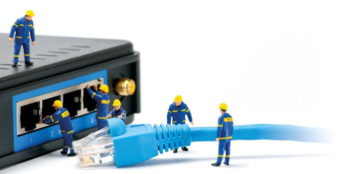 Sistema de cable de red en un router / switcher