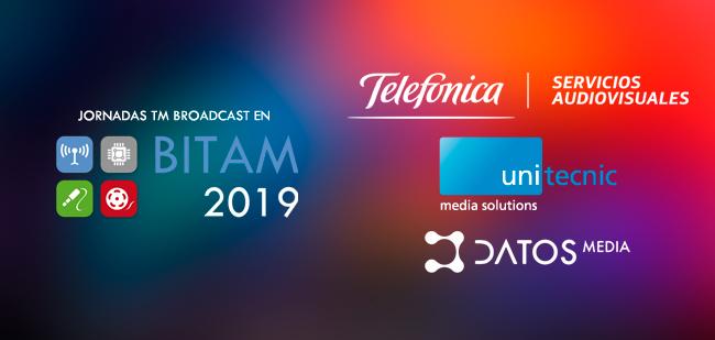 Telefónica servicios audiovisuales, unitecnic y Datos Media en una de las jornadas de BITAM Show 2019