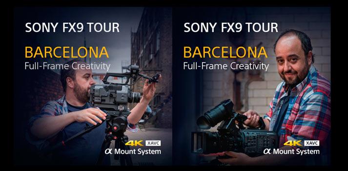 Cartel promocional de Sony para anunciar la masterclass de Sony sobre la FX9 en Barcelona
