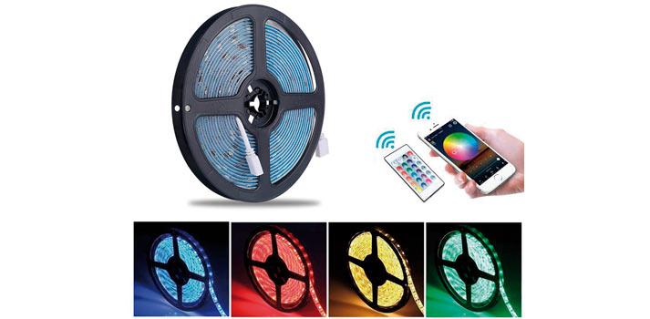 Fotografía con tiras de LED cuya tonalidad es controlada con una aplicacion