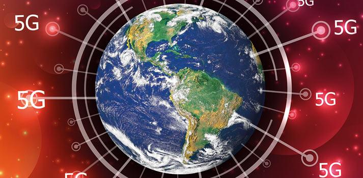 Imagen conceptual de la extensión de las redes 5G en el mundo
