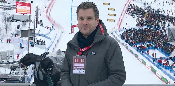 Adde Granberg, responsable técnico de SVT, en Are (Suecia)