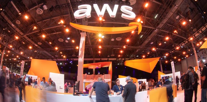 Uno de los stands del evento re:Invent de Amazon Web Services 2019