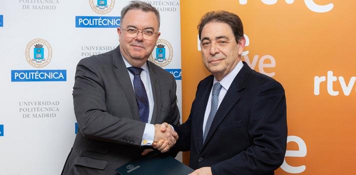 Director general corporativo de RTVE Federico Montero y el rector de la Universidad Politécnica de Madrid Guillermo Cisneros en la renovación de la Cátedra RTVE