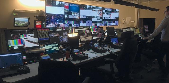 Sala de control en Estocolmo a cargo de la producción remota del campeonato del mundo de Ski Alpino