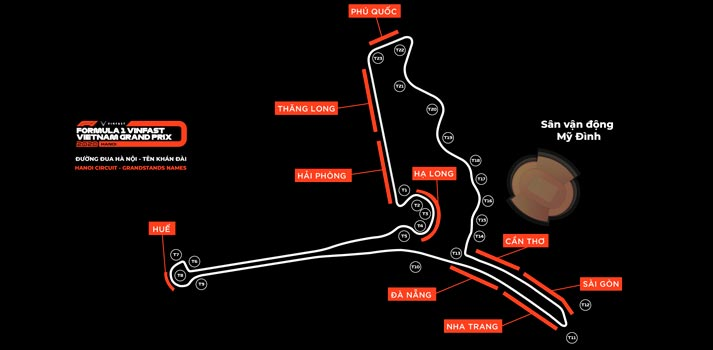 Diseño del circuito del nuevo Gran Premio de Vietnam, que se celebrará en 2020