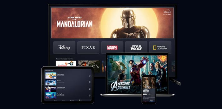 Aplicaciones de Disney+ en diferentes televisiones, web, tableta y móviles