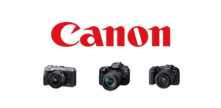Montaje de Canon con algunas de sus cámaras digitales