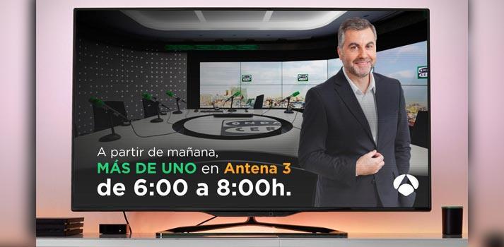 Imagen promocional de Más de Uno emitiendo su primer tramop en Antena 3