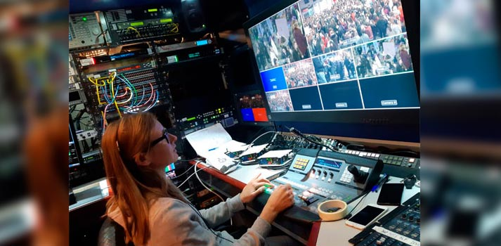 Espacio de realización de la marcha del 8M en Madrid. Cobertura proporcionada por Overon (Grupo Mediapro)