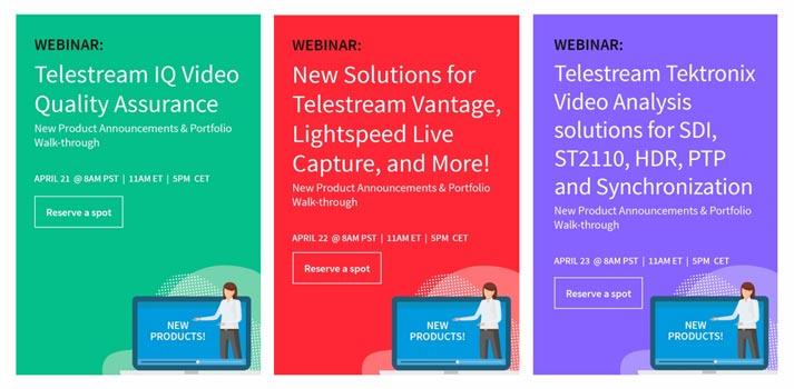 Próximos seminarios web de Telestream y Tektronix