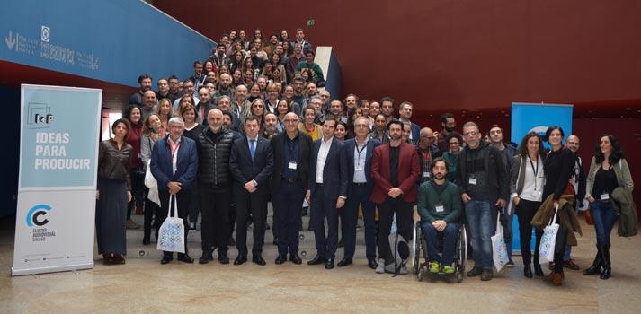 """Personalidades pertenecientes al Clúster Audiovisual Galego durante el evento """"I+P Ideas para Producir"""""""