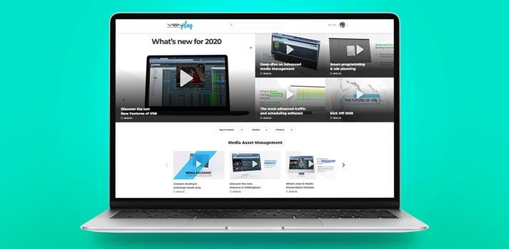 Interfaz de usuario en un portátil de la plataforma VOD VSN Play