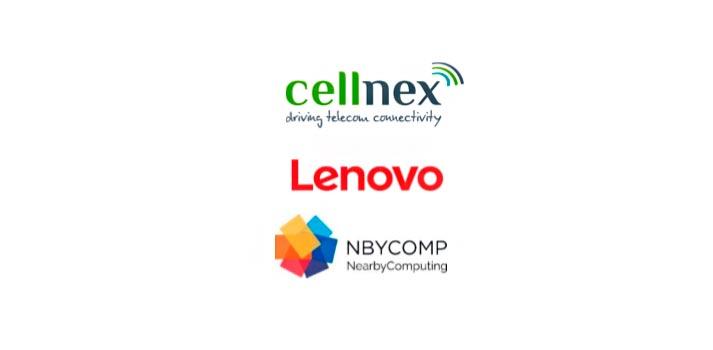Logotipos de Cellnex, Lenovo y Nearby Computing