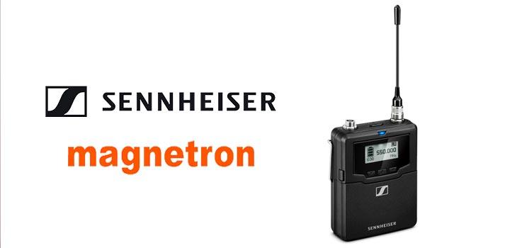 Logotipo de Sennheiser y Magnetron, con los emisores SK 6000
